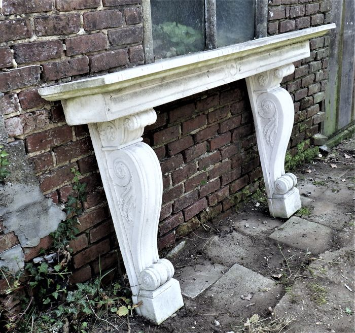 French mantelpiece in cast cement - ca. 1980