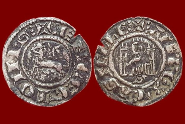 Spain - Alfonso X (1252-1284) Billon Pepion, Seville Mint - 20 mm / 0.86 g