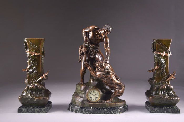 XL - Monumental zamac clock set (64 cm) on marble base, signed Cartier- France ca- 1850