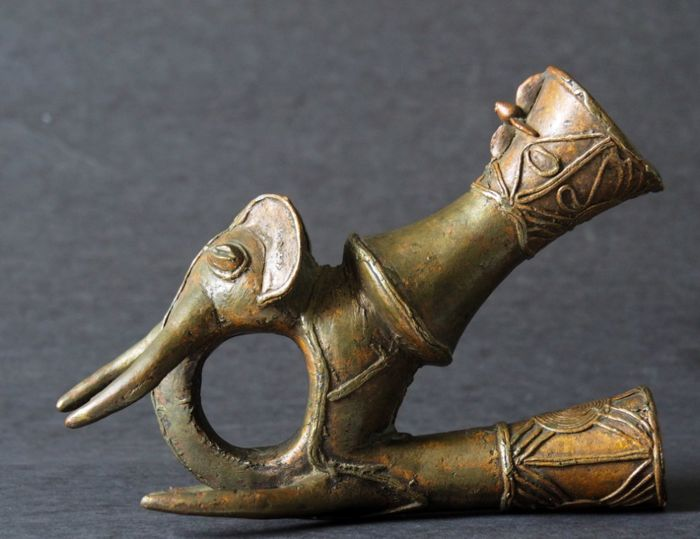 Bronze Elephant Head Ceremonial Pipe- Bamiléké Bamum people -Cameroon