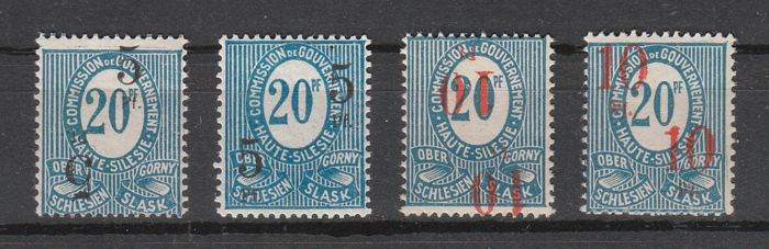 Upper Silesia 1920 - Lot with inverted and double imprints