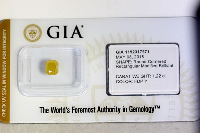 GIA Sealed Diamant - 1.22 ct - Fancy Deep Yellow