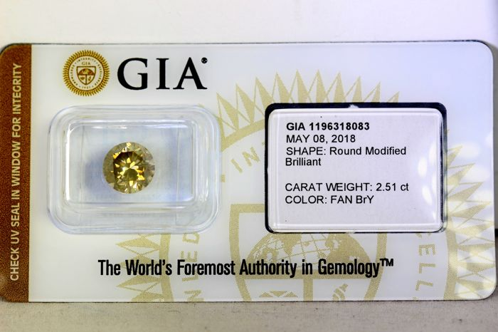 GIA Sealed Diamond - 2.51 ct - Fancy Brown - Yellow - VS2