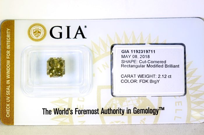 GIA Sealed Diamant - 2.12 ct - Fancy Dark Brown Greenish Yellow - SI2