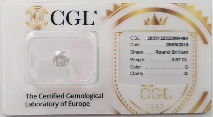 0.97 ct - Natural White Diamond - G Color - I2 - VG/EX/EX - NO RESERVE!