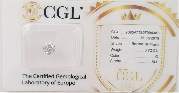 0.72 ct - Natural White Diamond - G Color - SI3 - VG/VG/VG - NO RESERVE!