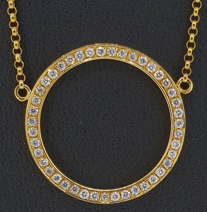 18 kt yellow gold necklace set with brilliant cut diamonds 0.24 ct - chain 42 cm