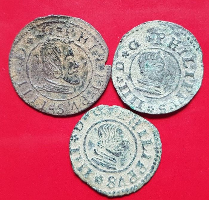 Spain - House of Habsburg - Felipe IV (1621-1665). Lot of 3 copper coins, 16 Maravedis, Madrid and Seville 1663