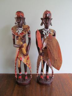 2 large wooden sculptures of the Masai - Kenya - Second half 20th century