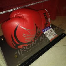 Mike Tyson signed glove in a unique display case. Glove PSA/DNA certified.  Case Engraved ' Iron' Mike Tyson H.O.F.2011