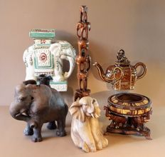 Collection of special elephants made of wood and ceramics