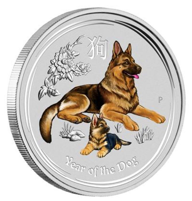 Australia - 2 dollars 2018 - 2 oz of silver - Colour - (Year of the Dog)
