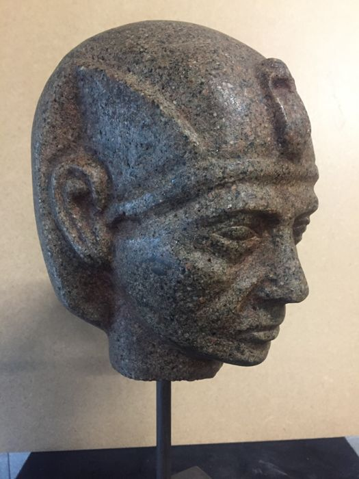 Granite head after an ancient Egyptian model