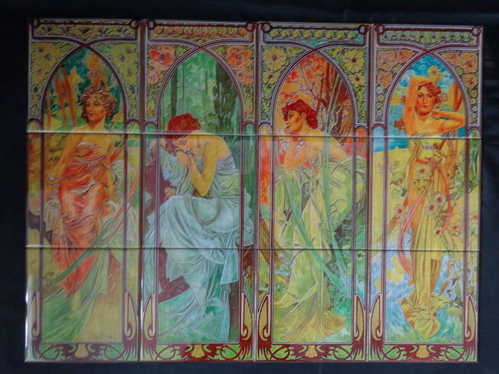 Outdoor Tile Painel  - Alphonse Mucha - The Times of the Day series - 1899 ( Reproduction )- Night's Rest, Evening Contemplation, Brightness of Day, Morning Awakening