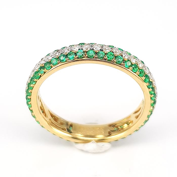 0.61 carats Emerald and 0.40 carats White Diamond Eternity Band Ring in 18 kt Yellow Gold- Free Delivery