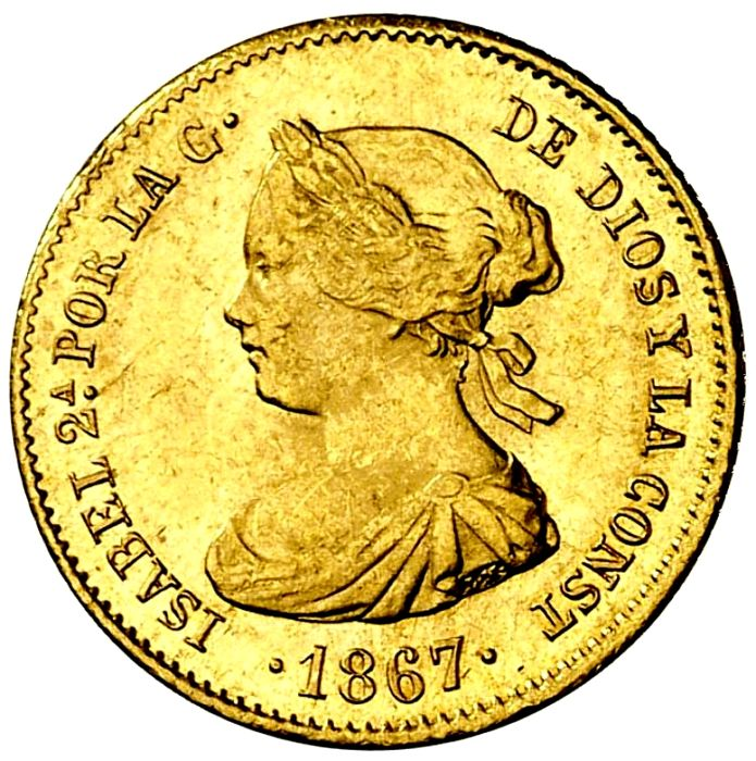 Spain - Isabel II. 4 escudos, Madrid 1867 - Madrid. - Gold