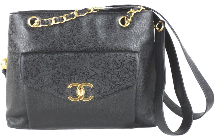 12e7cef97bf8 Chanel - Black Caviar Leather Front Pocket CC Logo TurnLock Shoulder bag -  Vintage