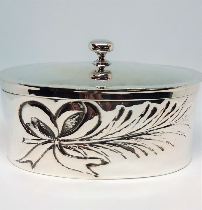 Silver Oval box by SFS, Florence, Italy, 1980s