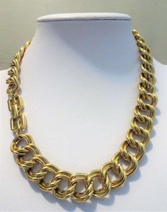 Givenchy - Big Gold Double Link Necklace - jaren 80 - Vintage