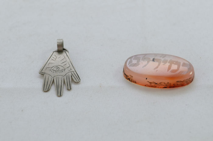 Two amulets - silver and agate - fertility - Tunisia - first half 20th century