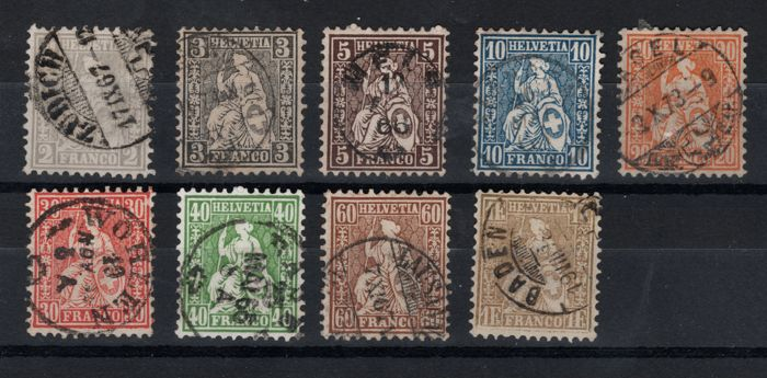 Switzerland 1862/1881 - Seated Helvetia, white paper cancelled -
