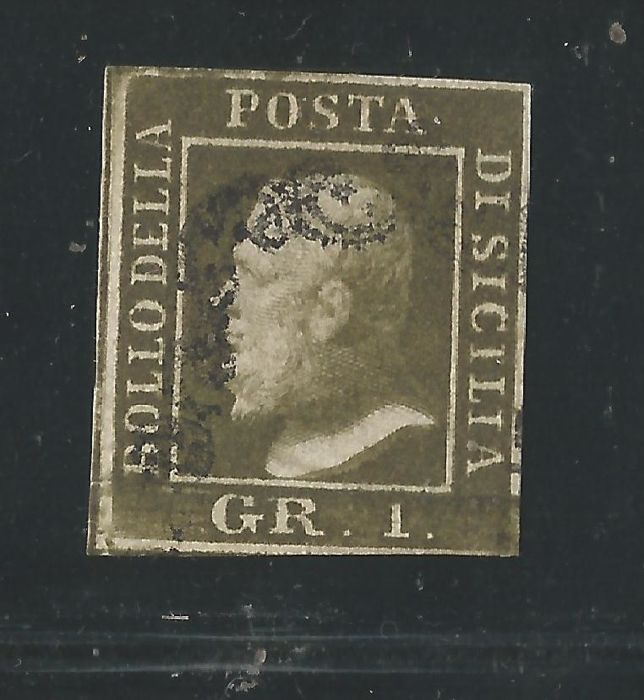 Sicily 1859 - 1 gr., light olive green and 1 gr. Olive green - Sassone No. 5 and 5d