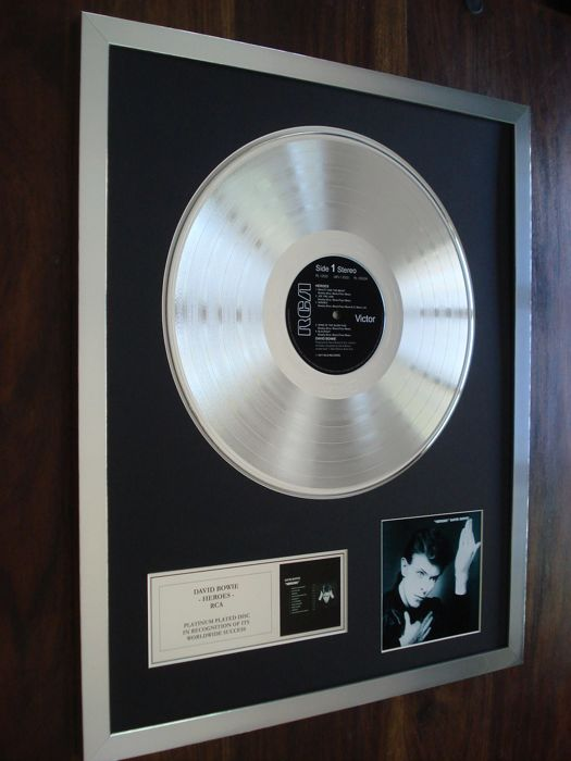 David Bowie Heroes Platinum Plated Disc Record LP Album Award