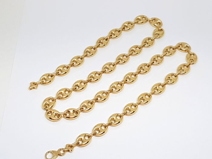 "18K Yellow Gold Mens Necklace "" Grand Cafe "" Link - Length: 70,0 cm."