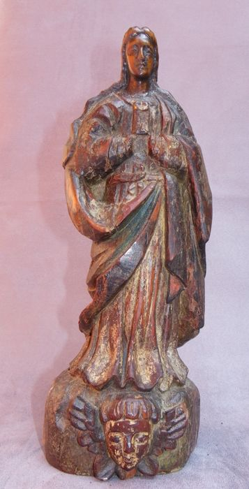 Virgin with Child in carved wood - 17th century