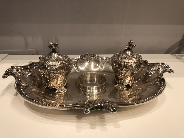 Sterling silver ink stand, Victorian, London, 1848 - Robert Hennell III