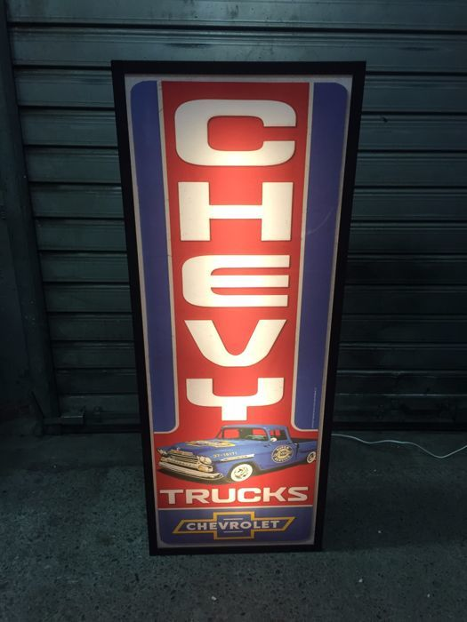 vintage Chevrolet Chevy large lightbox 100cm x 40cm x 13cm illuminated advertising sign - lemp garage service item sign