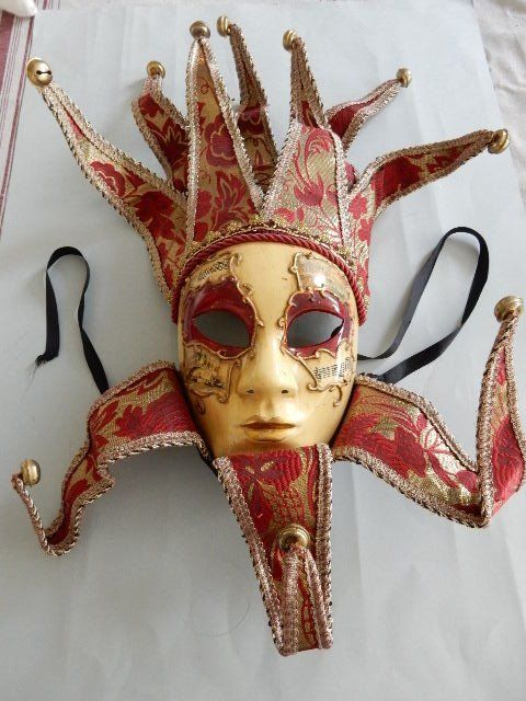 Great Venetian 'Joker' mask - Red and Golden - 10 tips - Carnival of Venice - 20th century - Italy