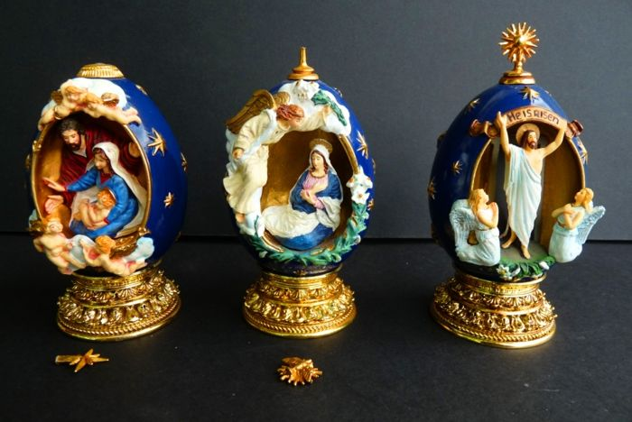House of Fabergé - 3 collector religious eggs - Numbered - Signed