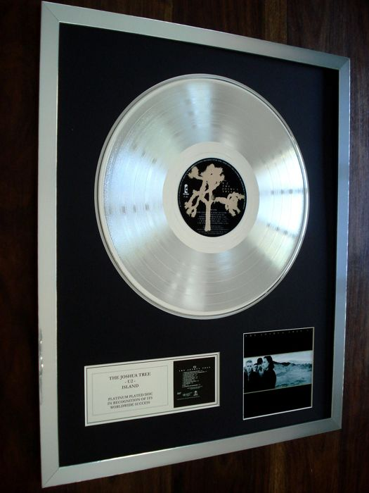 U2 The Joshua Tree Platinum Plated Disc Record LP Album Award