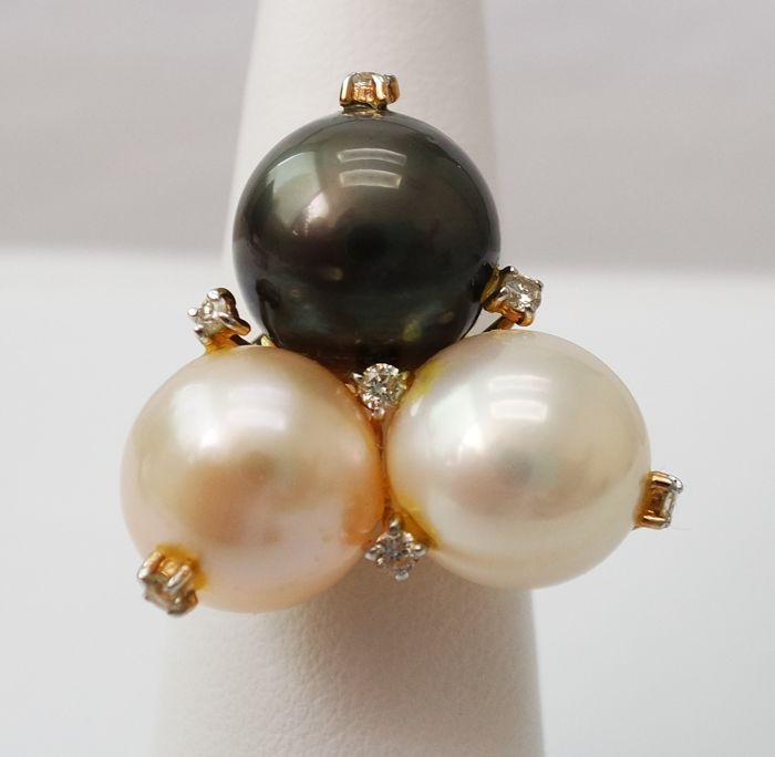 14K Yellow Gold South Sea  Pearl & 0.21 ct Diamond Ring - Ring Size: UK Size O, US Size 7.25