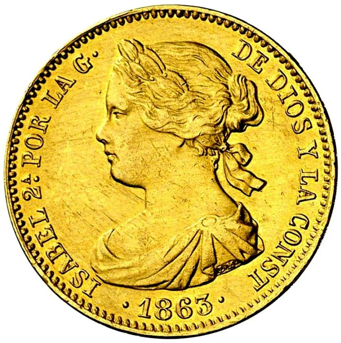 Spain - Isabel II (1833–1868), 100 Reales of gold  Madrid - 1863