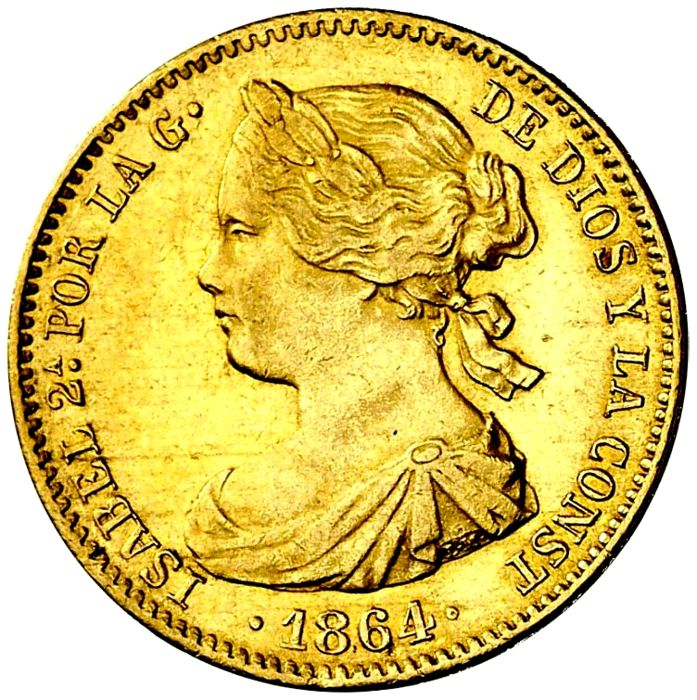 Spain - Isabel II. 100 Reales 1864  - Madrid - Gold