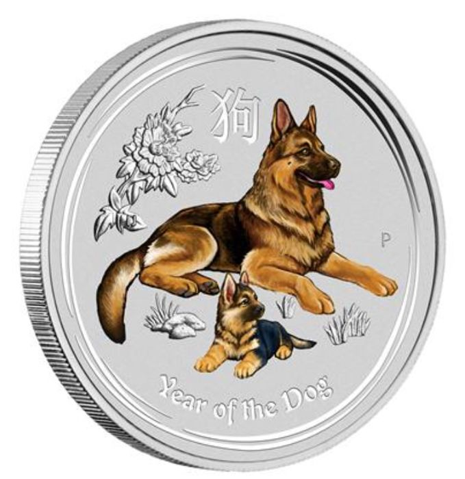 Australia- 1 Dollar 2018 - 1 oz Coloured Silver - (Year of the Dog)