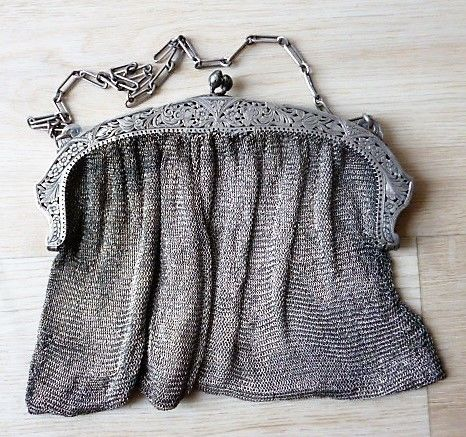 Large silver chain link purse with beautiful open work decorated brace -ca 1880 -France