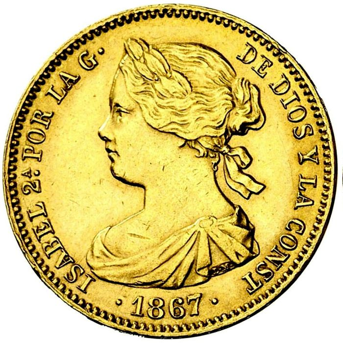 Spain - Isabel II (1833 - 1868), 10 Escudos in gold Madrid - 1867