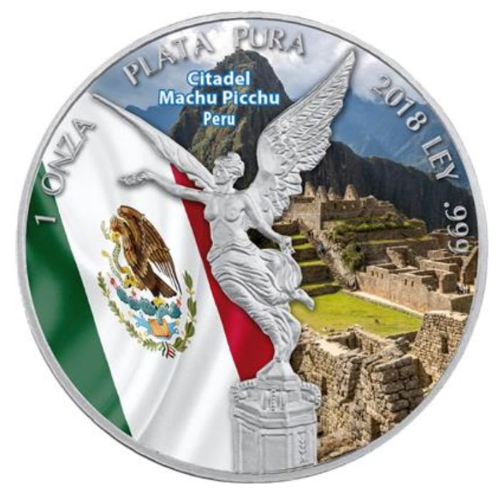 Mexico - 1 Onza 2018 - 1 oz Silver Coloured - (Libertad - Citadel of Machu Picchu)
