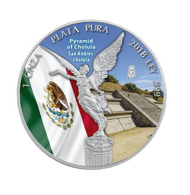 Mexico - 1 oz 2018, Libetad - Pyramid of Cholula - Coloured - 1 oz 999 Silver