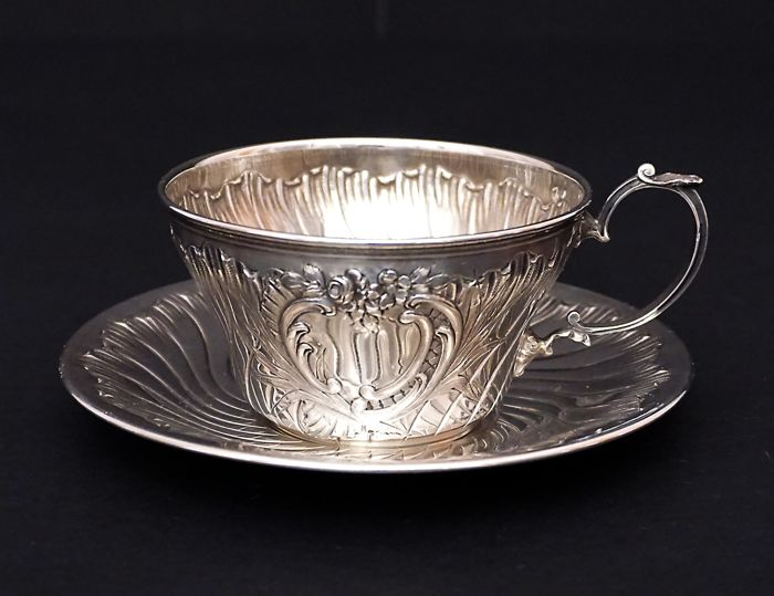 Silver cup and saucer for chocolate,    -Louis Ravinet & Charles Denfert    -France  1891-1912