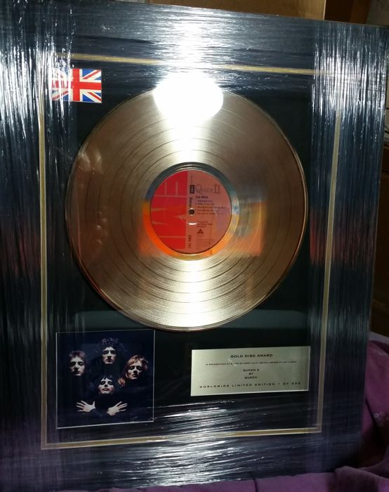 Queen, 'Queen 2'. 24 kt Gold plated disc 3D display  Limited edition 1 of 250 Worldwide.