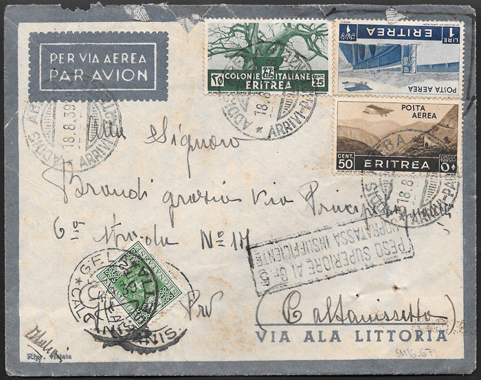 Italian Colonies - Two letters, one sent via Airmail from Addis Abeba, the other from Military Post field 101