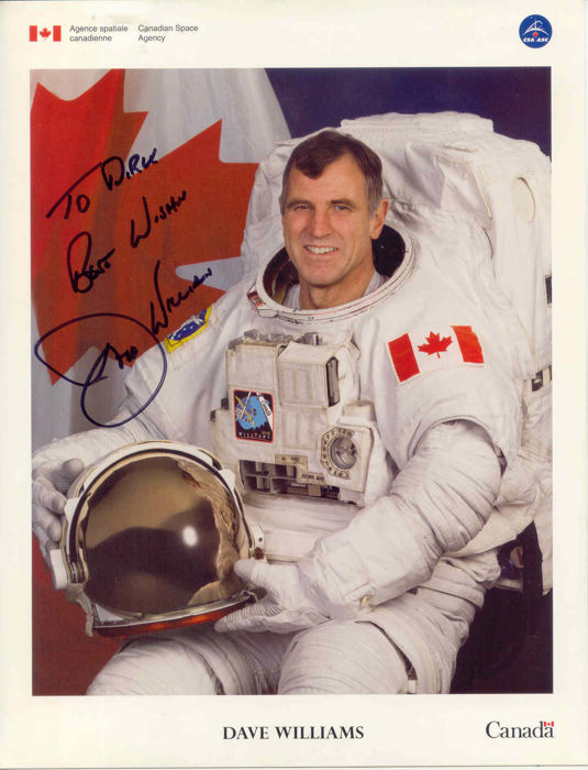 Canadian astronaut Dave Williams handsigned