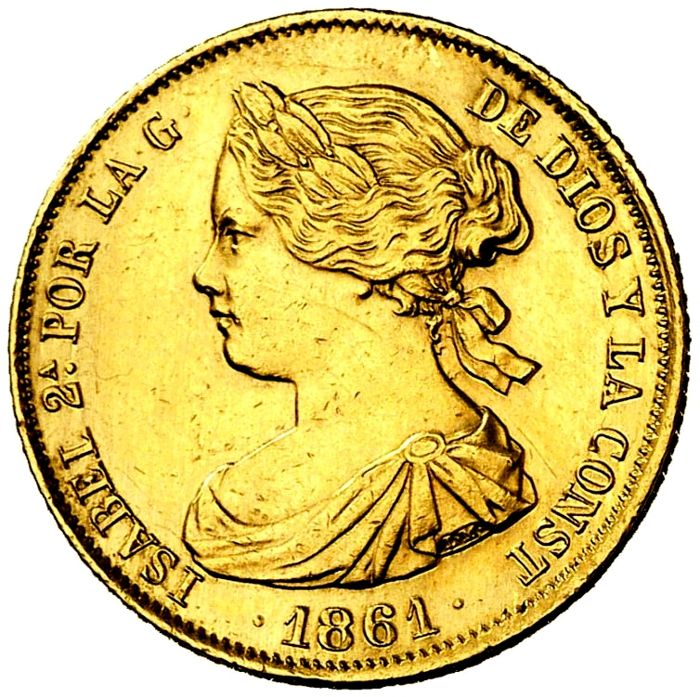 Spain - Isabel II. 100, Reales 1861 - Madrid. - Gold
