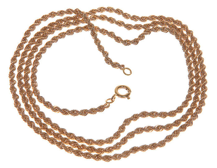 14 kt Yellow gold cord necklace - 2.2 mm - 65 cm