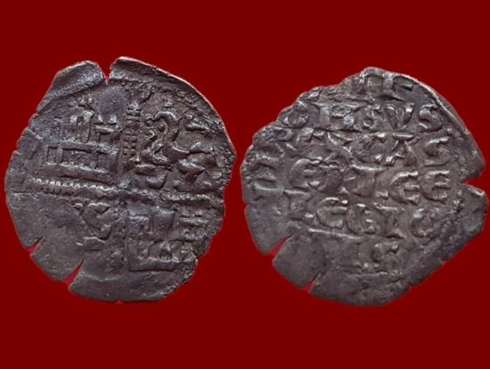 Spain - Alfonso X, the wise (1252–1284). Dinero with 6 lines. Hallmark of Roeles mint axis finish. 18 mm / 0.64 g.