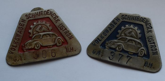 2 x car plaque - VW forge plant Ustron